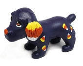 RESERVED-Candy Corn Spaniel, Halloween Pupple Figurine