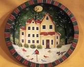 Christmas Folk Art Hand Painted Bowl - Snowy Night, Saltbox House, Raccon, Birdfeeder on Lawn, Full Moon