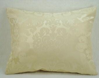 Silk Ivory Damask Decorative Accent Lumbar Pillow Cover 13x16