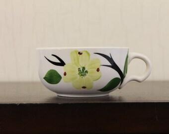 Vintage White Coffee Cup w/Grn Dogwood Flowers (E1389)