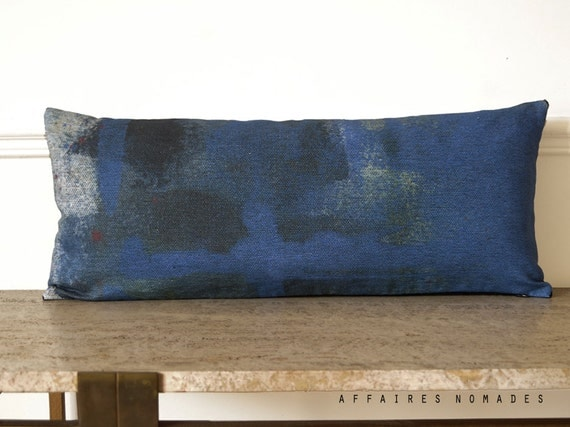 Modern decor. Royal blue lumbar pillow. Linen & velvet