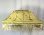 Lamp Shade Pendant Chandelier Large Green Sage Embroidered Mesh Hanging