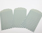 """20 Chevron Favor Bags Paper Treat Bag White Green Zig Zag party supplies favors candy cookie cookies set 7 inch by 4 inches """" x"""