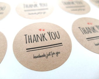 Thank You Stickers, Kraft Thank You Stickers - Made to Order