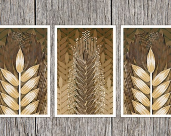 Wheat Paper Art Print set, Autumn pint set, Quilled Wheat Sheaf, Hand Drawn Wheat Field, set of 3 in shades of brown, autumn decor