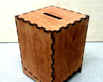 Wooden Coin Bank Etsy