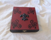 Gothic Victorian Burgundy Red & Black Scrolled Fleur De Lis Keepsake Box
