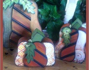 Pumpkin Wood Trio   Set of 3