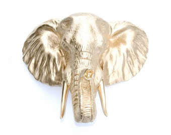 Faux Taxidermy - Gold Elephant  Wall Mount - 3D Safari Animal Wall Sculpture - Elephant Head Home Decor EL08