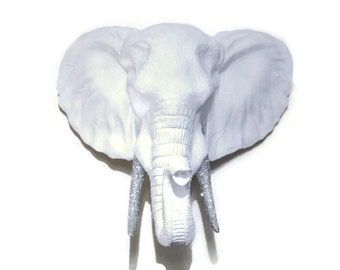 White Elephant Head Wall Mount with Silver Glitter Tusks Wall Mount - Faux Taxidermy EL0135