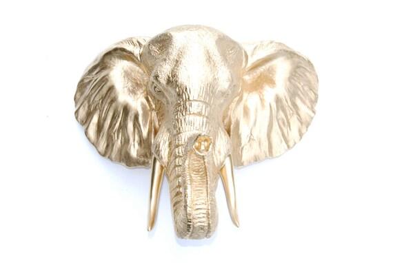 Faux Taxidermy Gold Elephant Wall Mount 3d Safari Animal