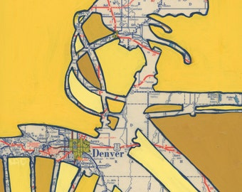 Bike Denver print (no.2) -featuring Golden, Aurora, Englewood, Idaho Springs, Arvada, Edgewater Colorado bicycle art print using vintage map