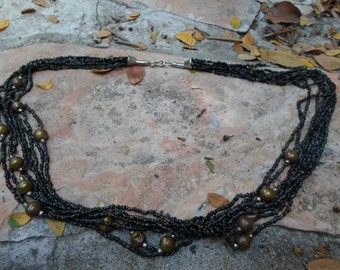 Vintage Brass and Seed Bead Necklace