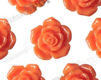 16mm Pointy Rose Orange Flower Cabochons, Flower Cabs, Rose Shaped, Rose Cabochons, Rose Flatback Embellishments (R3-122)