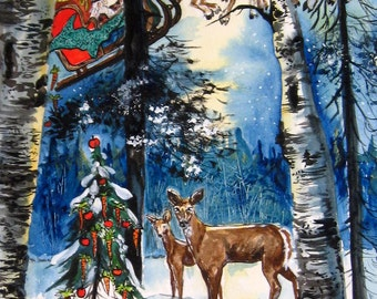 Merry Christmas Deer Presque Isle Park Maquette Christmas Series Print 2014