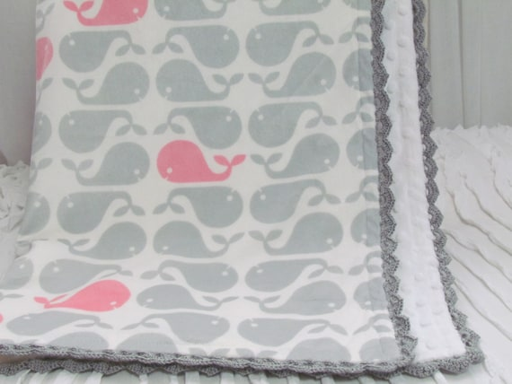 "Double minky baby blanket-30"" X 36""- Minky gray and pink whales- white minky dot- hand crochet trim. Ready to ship."