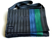 Vegan Shoulder Bag - Crossbody Messenger Bag - Black, Blue and Green Seatbelt Purse (M-7)