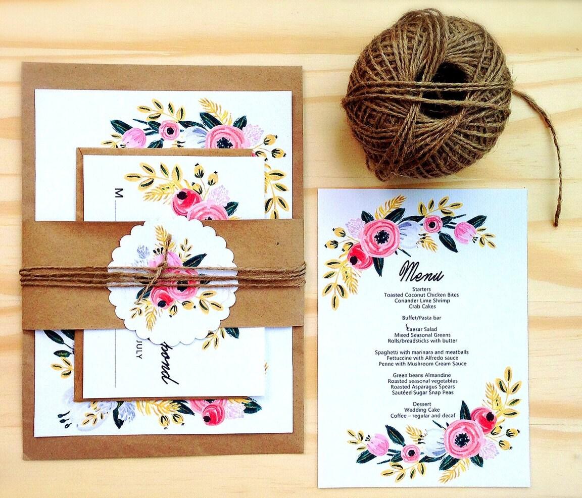 Diy Wedding Invitations: Printable Wedding Invitation Set Digital DIY Wedding