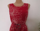 Long Dress Vintage / Viscose / All Lining / Dark Red / White / EUR44 / UK16