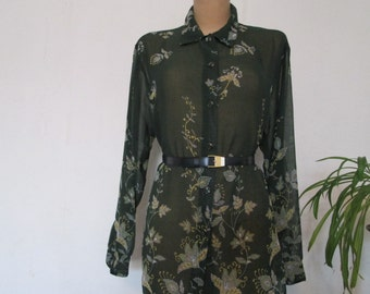 Pretty Blouse Vintage / Size EUR46 / UK18 / Green / Big / Large