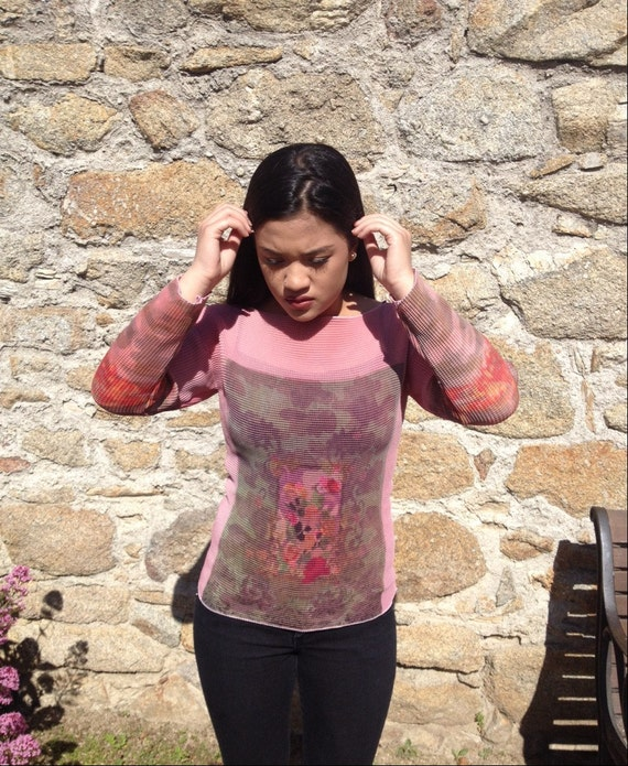 Pink Textured Printed Blouse
