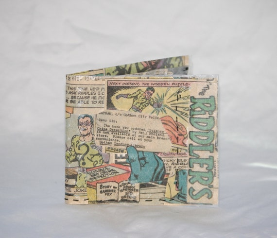 Handmade Riddler Wallet recycled comic book upcycled rare collectors vintage batman comics hand sewn Christmas gift geeky billfold bifold