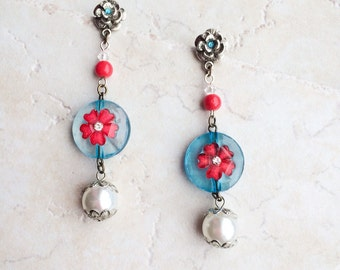 Red Blue Flower Earrings, Funky Pearl Post Earrings