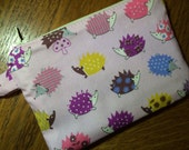 Pink or White Hedgehogs Zippered Pouch, Coin Purse, Knitting Notions Case, Gift Card Holder, Phone Case, Vegan Wallet, Stocking Stuffer