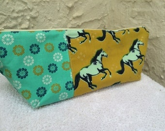 Gold and Teal Mustangs Horses Large Makeup Bag Cosmetic Bag Toiletry Bag Knitting Project Bag Crochet Project Bag Bridesmaid Gift