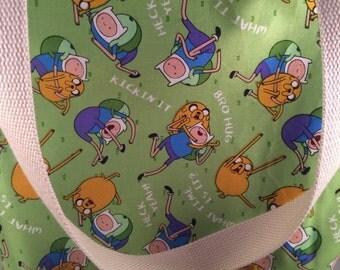 Adventure Time Jake and Finn Canvas Reversible Washable Tote Bag Knitting Bag Book Bag Beach Bag Diaper Bag Daycare Bag Library Bag