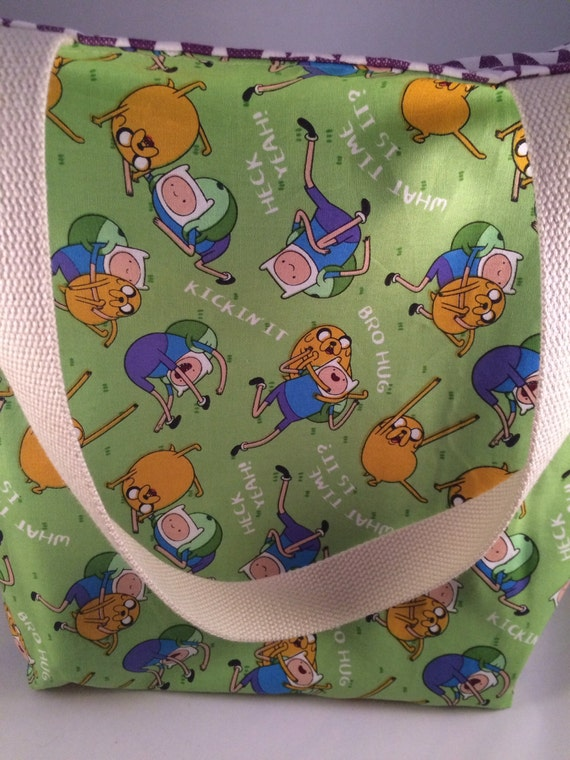 items similar to adventure time jake and finn canvas reversible washable tote bag knitting bag. Black Bedroom Furniture Sets. Home Design Ideas