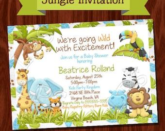 NEW Jungle themed Baby Shower Invitation PRINTABLE Digital File