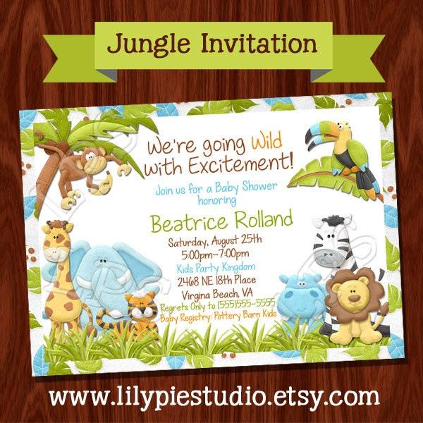 new jungle themed baby shower invitation printable digital