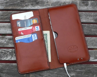 iPhone 7 & 6  -  Leather Wallet, No. 75, Chestnut Brown  Leather Case  - by GARNY  - ea