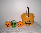 Halloween Candy Bucket / 1993 McDonald's and 3 Mini Buckets / Blow Mold Frankenstein, Jack O Lanterns Trick Or Treat Pails