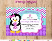 PRETTY PENGUIN invitation - with or without photo - U PRINT