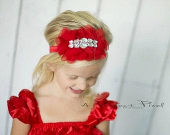 Christmas baby headband - girls headband - Red headband - rhinestone girls headband - christmas headband - christmas hair bow - hair clip