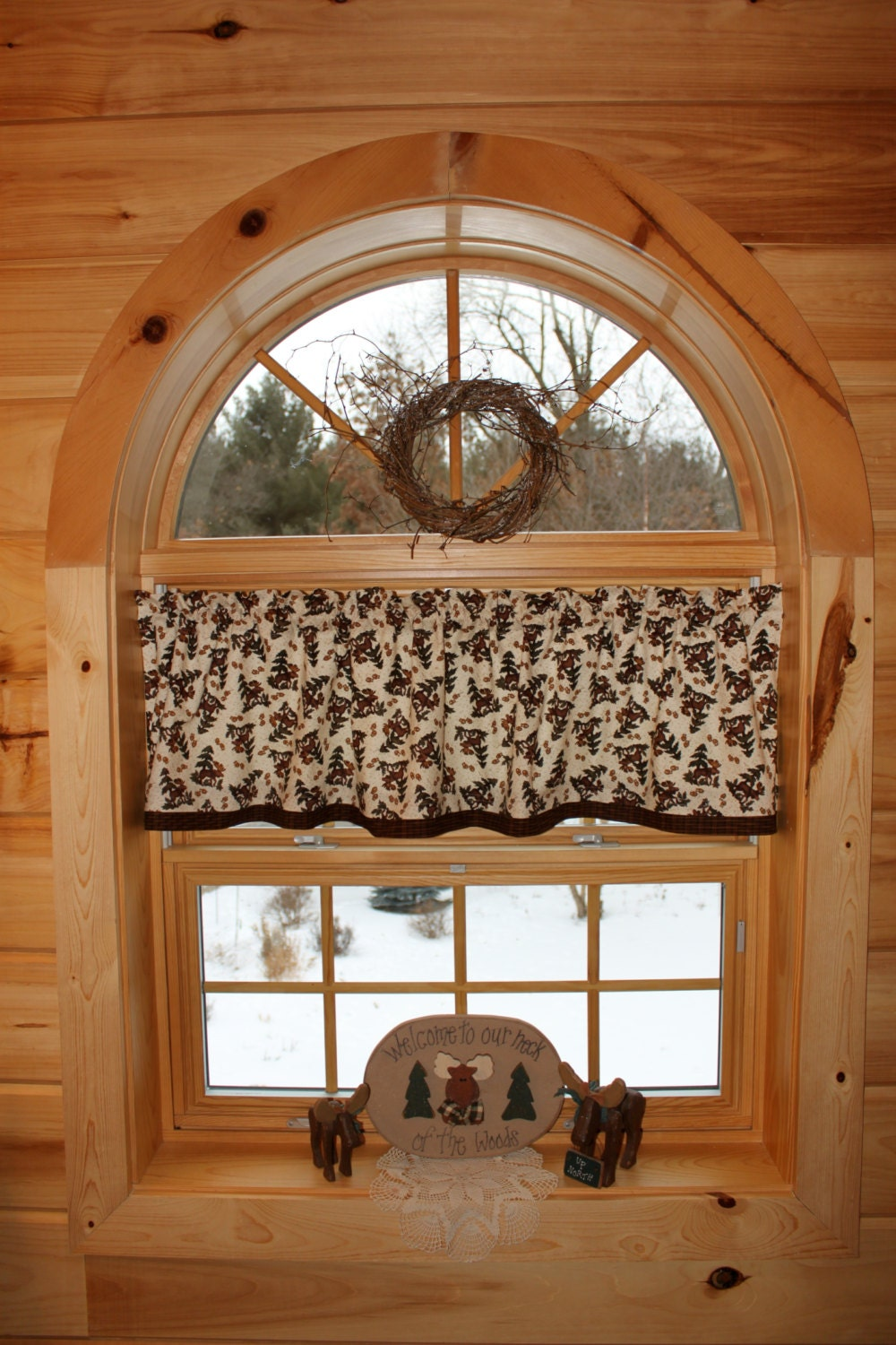 Northwoods moose lodge country curtain window valance for Northwood windows