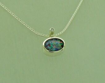 opal diamond silver pendant