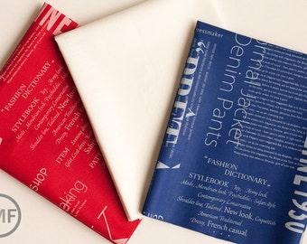Half Yard Bundle Suzuko Koseki Fashion Magazine Text, 3 Pieces, Yuwa Fabric, SZ816914, SZ816972, 100% Cotton Japanese Fabric