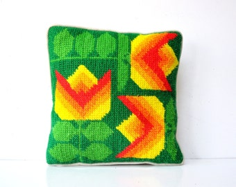 Mod Needlepoint Tulip Pillow