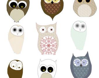 Cute Owls Clip art, Cute Owl Digital Images, Owl Clipart, Woodland Owl Digital Paper, Owl Digital Collage Sheet, Owl Images