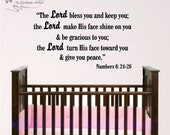 Nursery Bible Verse Wall Art, Lord Bless You, Numberts 6: 24-26 Baby Room Wall Decal