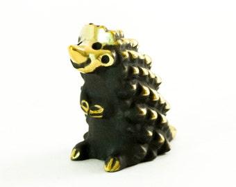 """Walter Bosse Hedgehog - Brass """"Black Gold"""" Hedgehog Figurine — """"Igel"""""""