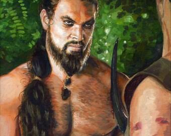 Original Acrylic Painting - Game of Thrones, Khal Drogo Portrait