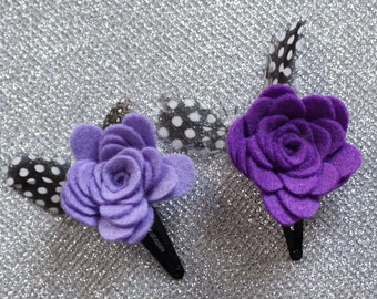 Set of 2 Purple Hair Clips - Lilac Flower Hair Clip for Babies / Toddlers - Snap Clip - Feather Hair Clip