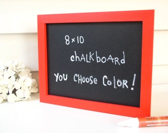 Red Framed Chalkboard Organizer Sign Menu Board - 8 x 10 Eco-Friendly Magnetic Blackboard for the Fridge or Desktop in Bright Red Pick Color