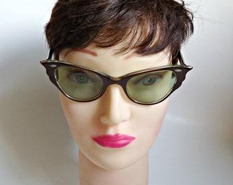 Vintage Eyeglass Frames Style-Rite Cat Eye Eyeglasses Frames Chocolate Brown Lucite 1950's