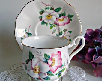 Tea Cup and Saucer  Royal Albert Teacup Saucer Clematis Flowers
