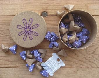 DIY Garland Kit, Hand Embroidered Box Filled with Origami Hearts. Sensationery Gift Set.